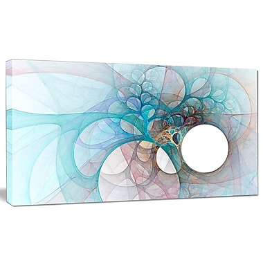 DesignArt 'Fractal Angel Wings in Light Blue' Graphic Art on Canvas; 20'' H x 40'' W x 1'' D