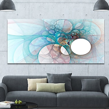 DesignArt 'Fractal Angel Wings in Light Blue' Graphic Art on Canvas; 28'' H x 60'' W x 1.5'' D