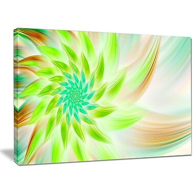DesignArt 'Huge Bright Green Fractal Flower' Graphic Art on Canvas; 30'' H x 40'' W x 1'' D