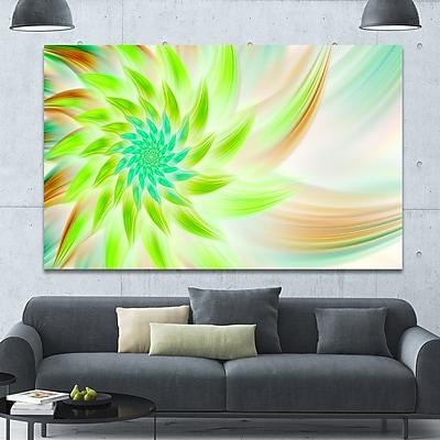 DesignArt 'Huge Bright Green Fractal Flower' Graphic Art on Canvas; 40'' H x 60'' W x 1.5'' D