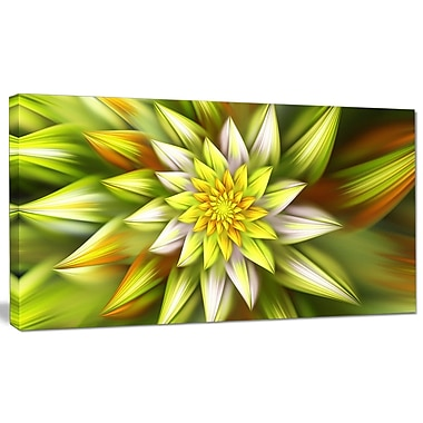 DesignArt 'Huge Yellow Fractal Flower' Graphic Art on Canvas; 20'' H x 40'' W x 1'' D