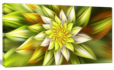 DesignArt 'Huge Yellow Fractal Flower' Graphic Art on Canvas; 12'' H x 20'' W x 1'' D