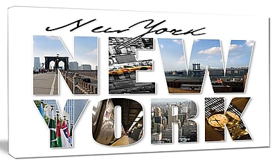 DesignArt 'New York City Graphic Montage' Textual Art on Canvas; 20'' H x 40'' W x 1'' D