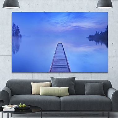 DesignArt 'Jetty at Blue Dawn Panorama' Photographic Print on Canvas; 40'' H x 60'' W x 1.5'' D