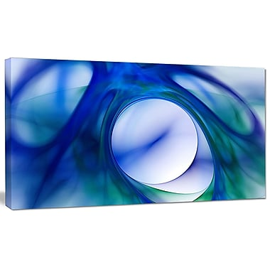 DesignArt 'Mystic Blue Fractal Wallpaper' Graphic Art on Canvas; 12'' H x 20'' W x 1'' D