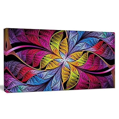 DesignArt 'Pink Yellow Fractal Stained Glass' Graphic Art on Canvas; 20'' H x 40'' W x 1'' D