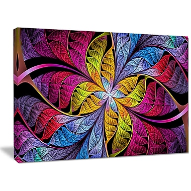 DesignArt 'Pink Yellow Fractal Stained Glass' Graphic Art on Canvas; 30'' H x 40'' W x 1'' D