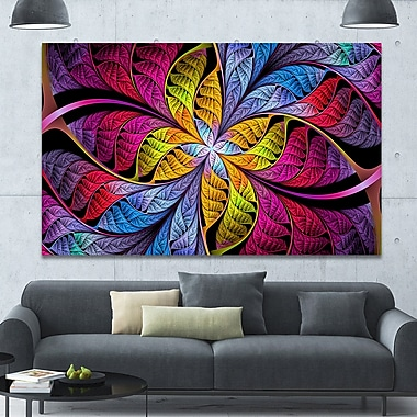 DesignArt 'Pink Yellow Fractal Stained Glass' Graphic Art on Canvas; 40'' H x 60'' W x 1.5'' D