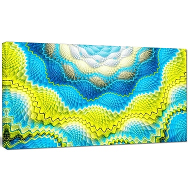 DesignArt 'Blue Yellow Spiral Snake Skin' Graphic Art on Canvas; 20'' H x 40'' W x 1'' D