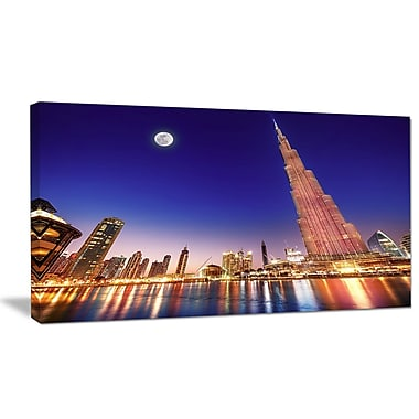 DesignArt 'Burj Khalifa Night Landscape' Photographic Print on Canvas; 16'' H x 32'' W x 1'' D