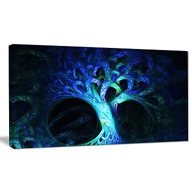 DesignArt 'Magical Blue Psychedelic Tree' Graphic Art on Canvas; 20'' H x 40'' W x 1'' D