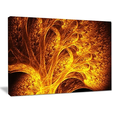 DesignArt 'Magical Yellow Psychedelic Tree' Graphic Art on Canvas; 30'' H x 40'' W x 1'' D