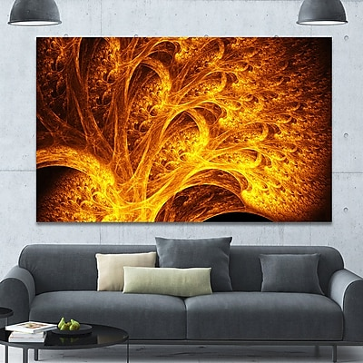DesignArt 'Magical Yellow Psychedelic Tree' Graphic Art on Canvas; 40'' H x 60'' W x 1.5'' D