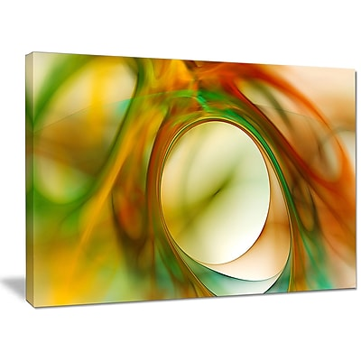 DesignArt 'Circled Green Psychedelic Texture' Graphic Art on Canvas; 30'' H x 40'' W x 1'' D