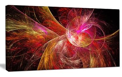 DesignArt 'Pink on Black Fractal Illustration' Graphic Art on Canvas; 12'' H x 20'' W x 1'' D