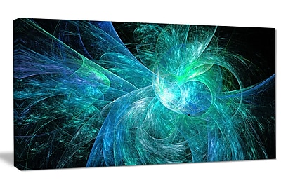 DesignArt 'Blue on Black Fractal Illustration' Graphic Art on Canvas; 20'' H x 40'' W x 1'' D