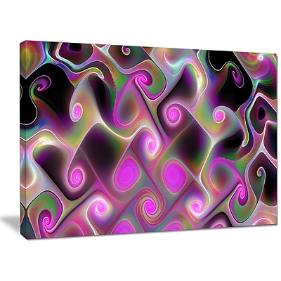 DesignArt 'Pink Fractal Pattern w/ Swirls' Graphic Art on Canvas; 30'' H x 40'' W x 1'' D