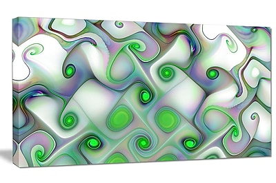 DesignArt 'White Green Pattern w/ Swirls' Graphic Art on Canvas; 12'' H x 20'' W x 1'' D
