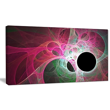 DesignArt 'Pink Fractal Angel Wings' Graphic Art on Canvas; 20'' H x 40'' W x 1'' D