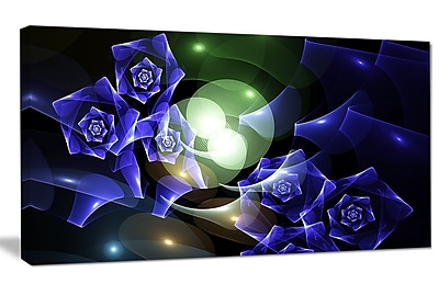 DesignArt 'Blue Bouquet of Beautiful Roses' Graphic Art on Canvas; 20'' H x 40'' W x 1'' D