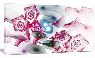 DesignArt 'Pink Roses Fractal Design' Graphic Art on Canvas; 16'' H x 32'' W x 1'' D