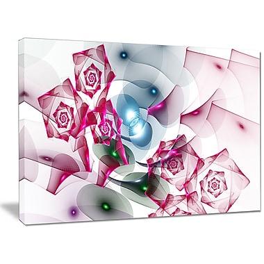 DesignArt 'Pink Roses Fractal Design' Graphic Art on Canvas; 30'' H x 40'' W x 1'' D
