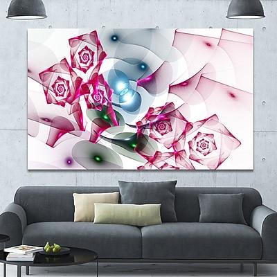 DesignArt 'Pink Roses Fractal Design' Graphic Art on Canvas; 40'' H x 60'' W x 1.5'' D
