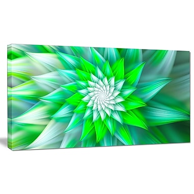DesignArt 'Large Green Alien Fractal Flower' Graphic Art on Canvas; 16'' H x 32'' W x 1'' D