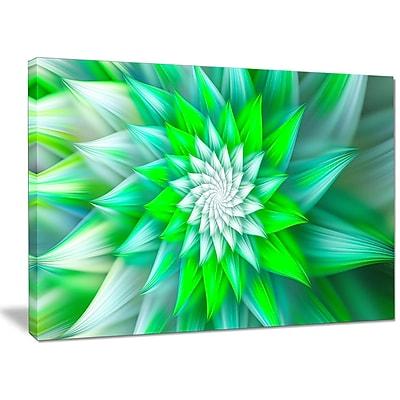 DesignArt 'Large Green Alien Fractal Flower' Graphic Art on Canvas; 30'' H x 40'' W x 1'' D