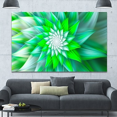 DesignArt 'Large Green Alien Fractal Flower' Graphic Art on Canvas; 40'' H x 60'' W x 1.5'' D