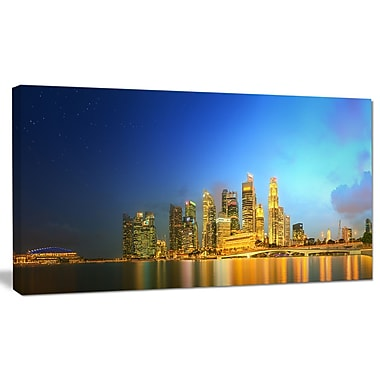 DesignArt 'Singapore Skyline and Marina Bay' Photographic Print on Canvas; 12'' H x 20'' W x 1'' D