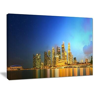DesignArt 'Singapore Skyline and Marina Bay' Photographic Print on Canvas; 30'' H x 40'' W x 1'' D
