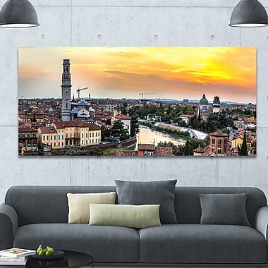 DesignArt 'Verona at Sunset in Italy' Photographic Print on Canvas; 28'' H x 60'' W x 1.5'' D