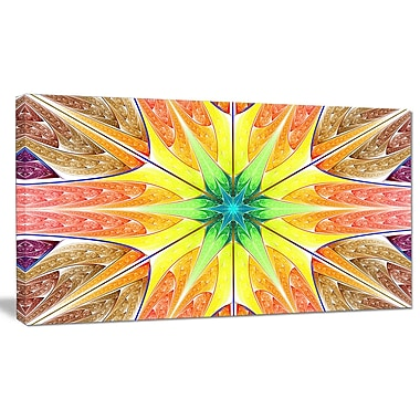 DesignArt 'Yellow Glowing Fractal Texture' Graphic Art on Canvas; 12'' H x 20'' W x 1'' D