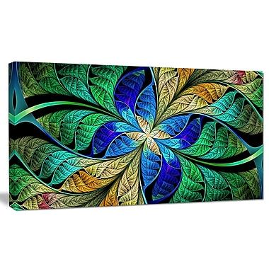 DesignArt 'Blue Green Fractal Flower Petals' Graphic Art on Canvas; 16'' H x 32'' W x 1'' D