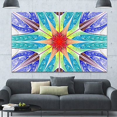 DesignArt 'Extraordinary Fractal Blue Design' Graphic Art on Canvas; 40'' H x 60'' W x 1.5'' D