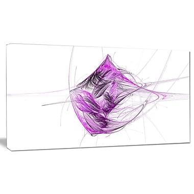 DesignArt 'Purple on White Fractal Illustration' Graphic Art on Canvas; 16'' H x 32'' W x 1'' D