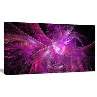 DesignArt 'Purple Fractal Abstract Illustration' Graphic Art on Canvas; 12'' H x 20'' W x 1'' D