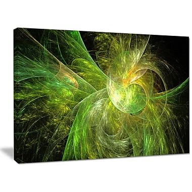 DesignArt 'Green on Black Fractal Illustration' Graphic Art on Canvas; 30'' H x 40'' W x 1'' D
