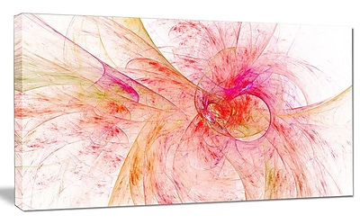 DesignArt 'Pink Fractal Abstract Illustration' Graphic Art on Canvas; 20'' H x 40'' W x 1'' D