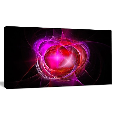 DesignArt 'Red Fractal Explosion Supernova' Graphic Art on Canvas; 20'' H x 40'' W x 1'' D