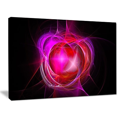 DesignArt 'Red Fractal Explosion Supernova' Graphic Art on Canvas; 30'' H x 40'' W x 1'' D