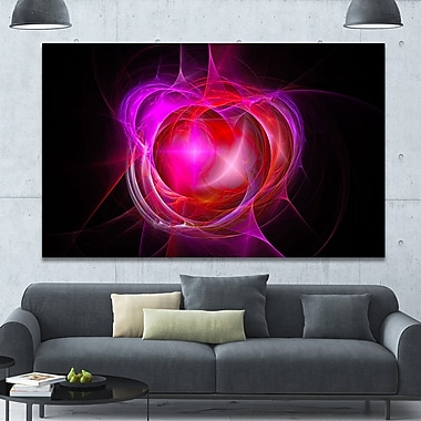 DesignArt 'Red Fractal Explosion Supernova' Graphic Art on Canvas; 40'' H x 60'' W x 1.5'' D