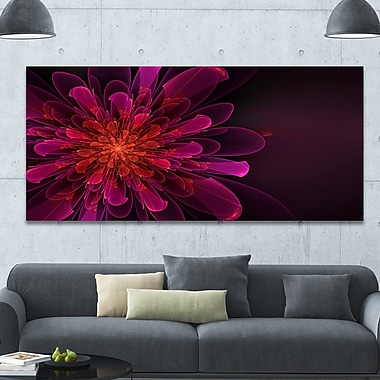 DesignArt 'Large Pink Alien Fractal Flower' Graphic Art on Canvas; 28'' H x 60'' W x 1.5'' D