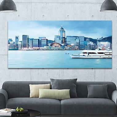 DesignArt 'Hong Kong City at Night' Photographic Print on Canvas; 28'' H x 60'' W x 1.5'' D