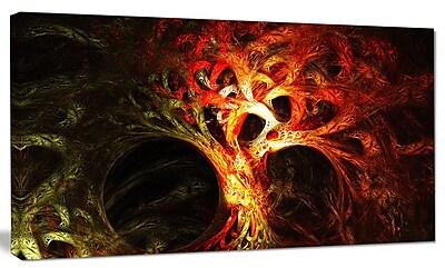 DesignArt 'Magical Orange Psychedelic Tree' Graphic Art on Canvas; 12'' H x 20'' W x 1'' D