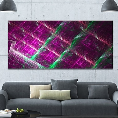 DesignArt 'Purple Fractal Metal Grill' Graphic Art on Canvas; 28'' H x 60'' W x 1.5'' D