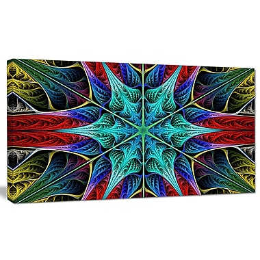 DesignArt 'Glowing Fractal Flower Layers' Graphic Art on Canvas; 12'' H x 20'' W x 1'' D