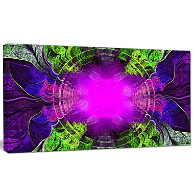 DesignArt 'Pink Fractal Circles and Curves' Graphic Art on Canvas; 12'' H x 20'' W x 1'' D