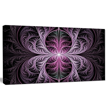 DesignArt 'Purple Glowing Fractal Stained Glass' Graphic Art on Canvas; 16'' H x 32'' W x 1'' D
